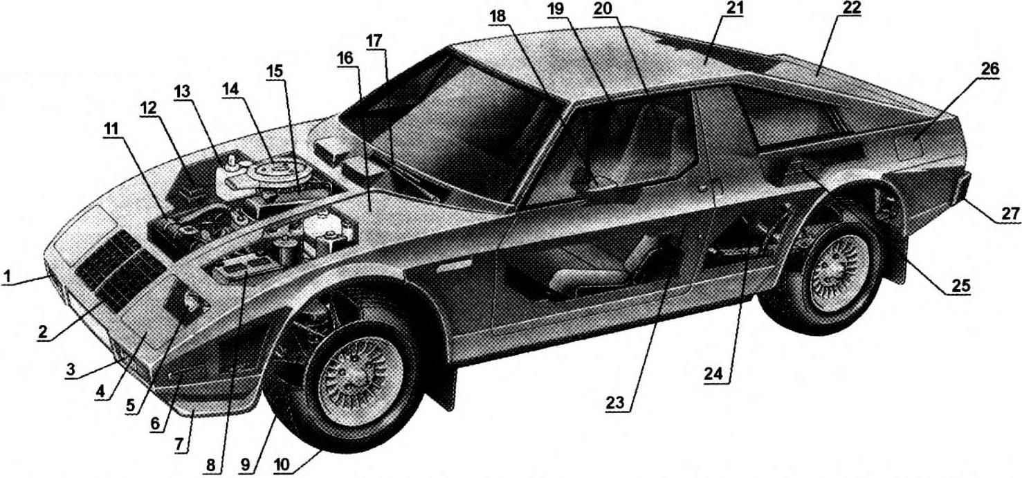 Компоновка автомобиля «ЮНА» (поз.9,10,11,12,13,14,15,17,24 от автомобиля ГАЗ-24)