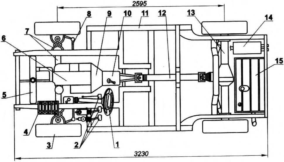 Шасси машины (поз. 2,3,5,6,7,8,9,10,12.13 — от автомобиля ГАЗ-24)