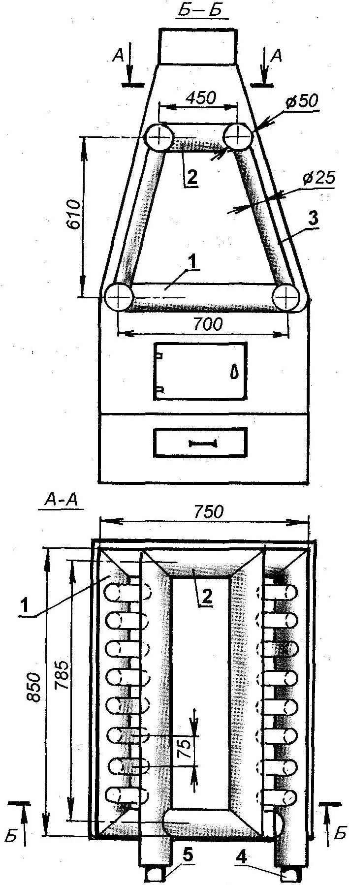 Рис. 3. Водотрубный водонагреватель шатрового типа