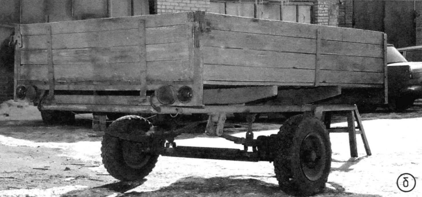 Прицеп для автомобиля УАЗ-469: а-вид спереди ; б - вид сзади