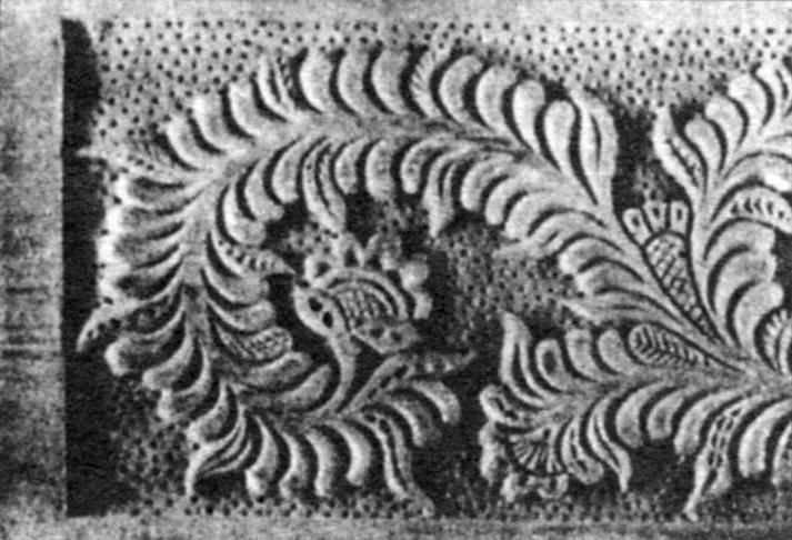 Плоскорельефная резьба с выбранным, прочеканенным фоном
