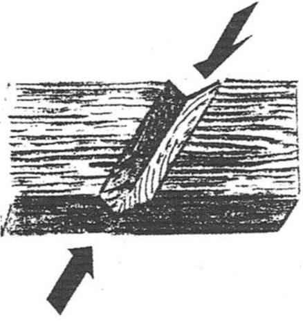 Готовая выемка, вырезанная под углом к волокнам