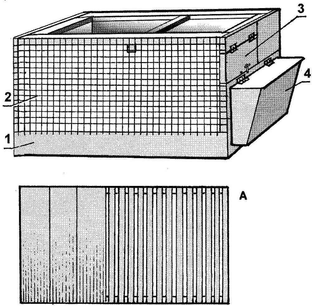Вариант клетки (тех же размеров) с боковым размещением кормушки