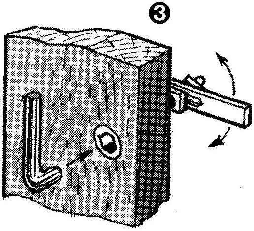 Рис. 3. Принцип действия потайной щеколды