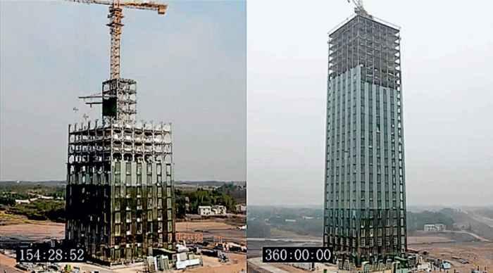 360:00:00 Слева: примерно середина работы, справа – момент остановки таймера; последние 9 этажей еще не застеклены (хотя в первые уже завозят мебель). Это тоже рекламная хитрость: до реального окончания еще как минимум сутки