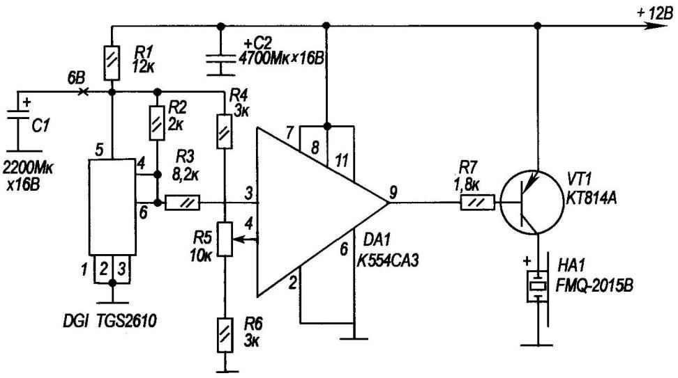Принципиальная электрическая схема прибора на базе датчика ТGS2610, реагирующего на газ пропан