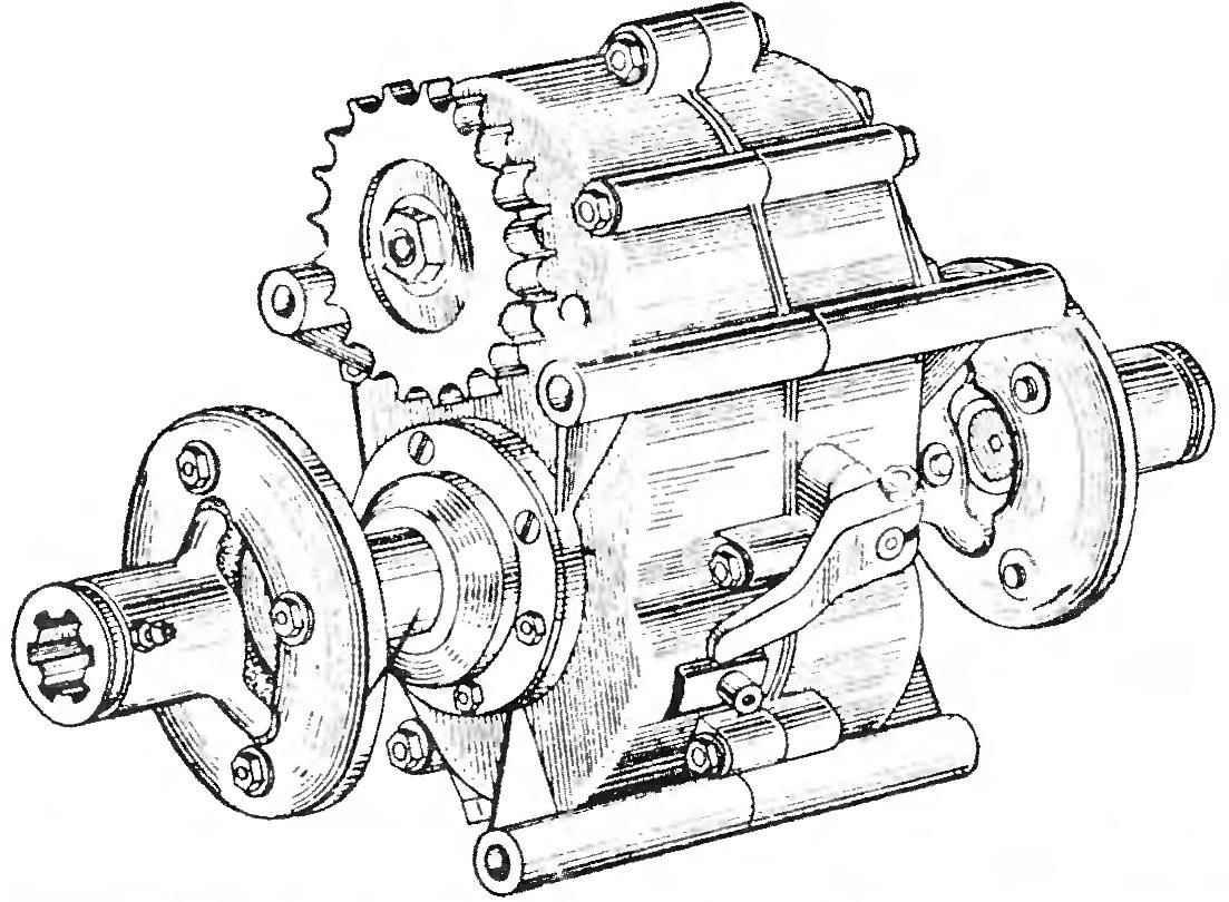 Реверс-редуктор мотоколяски (главная передача).