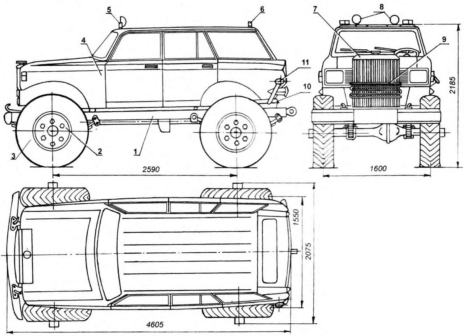 «Джип» с кузовом от легкового автомобиля «Москвич-21403», типа универсал и шасси от грузовика, вездехода ГАЗ-63