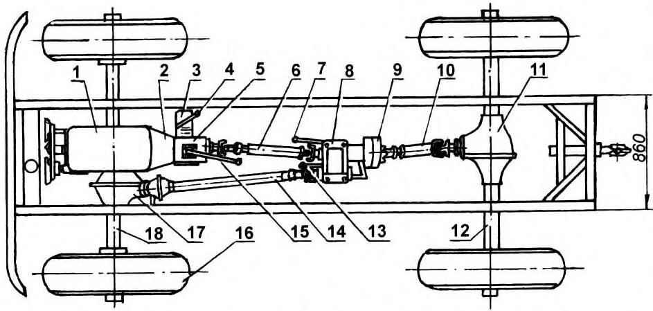 Трансмиссия «джипа» (все неуказанные позиции — от автомобиля ГАЗ-6З)