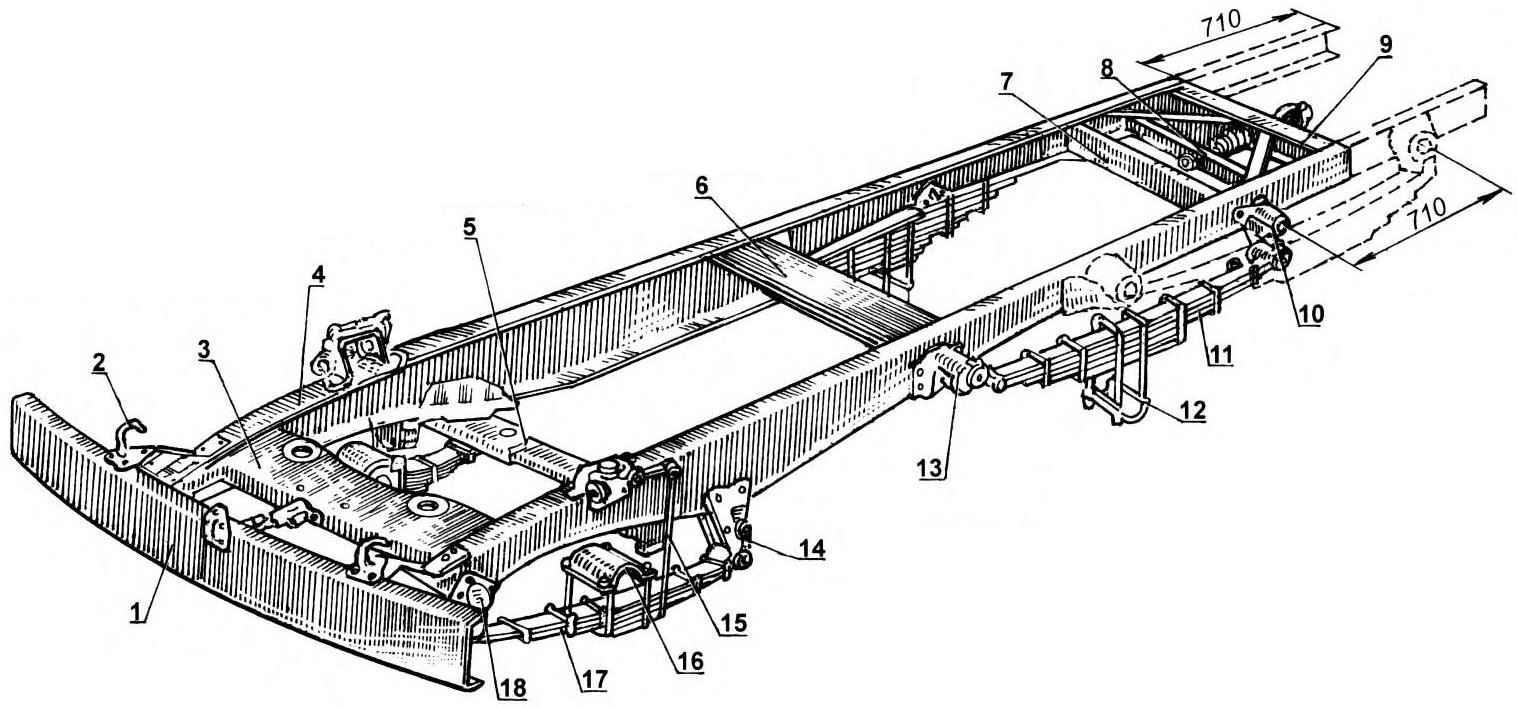 Рама «джипа» (от ГАЗ-6З, укороченная и частично переделанная)