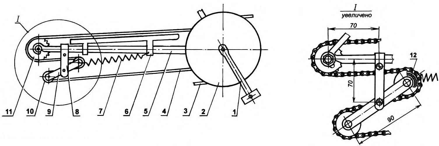 Механизм компенсации изменения длины цепи