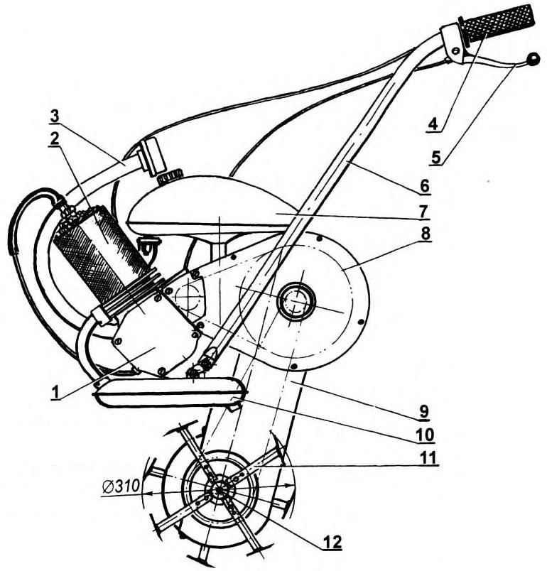 Мотокультиватор на базе двигателя Д8 с объемной фрезой
