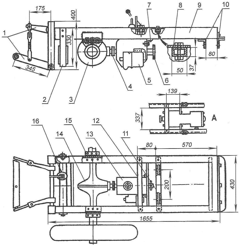 Рис. 2. Крепление заднего моста и редуктора к раме