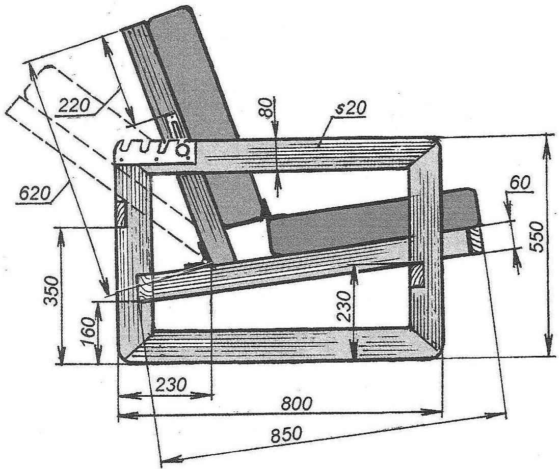 Рис. 2. Габариты кресла и размеры его деталей