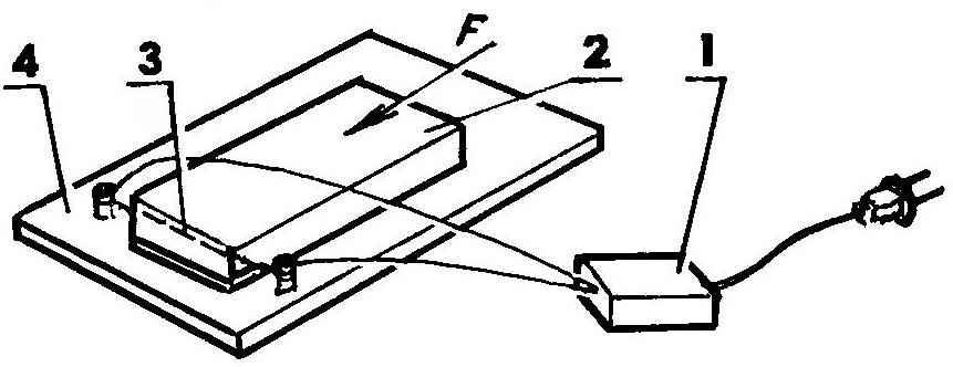 Прибор для резки пенопласта, необходимого при изготовлении коврика, помещаемого впоследствии в пчелиную кормушку