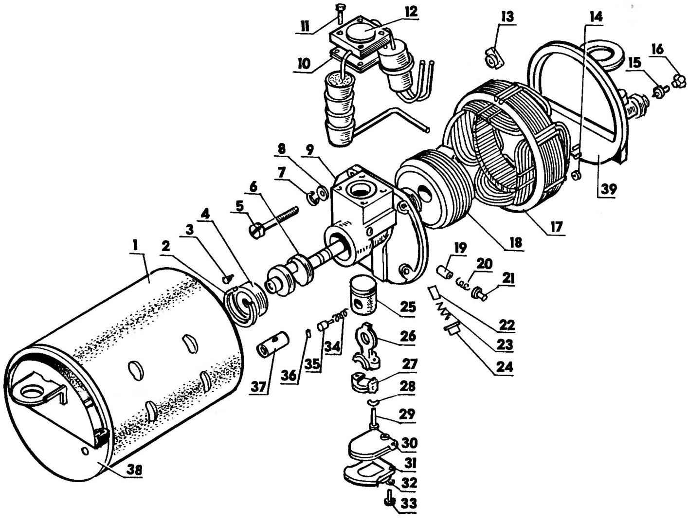 Компрессор с электродвигателем в кожухе