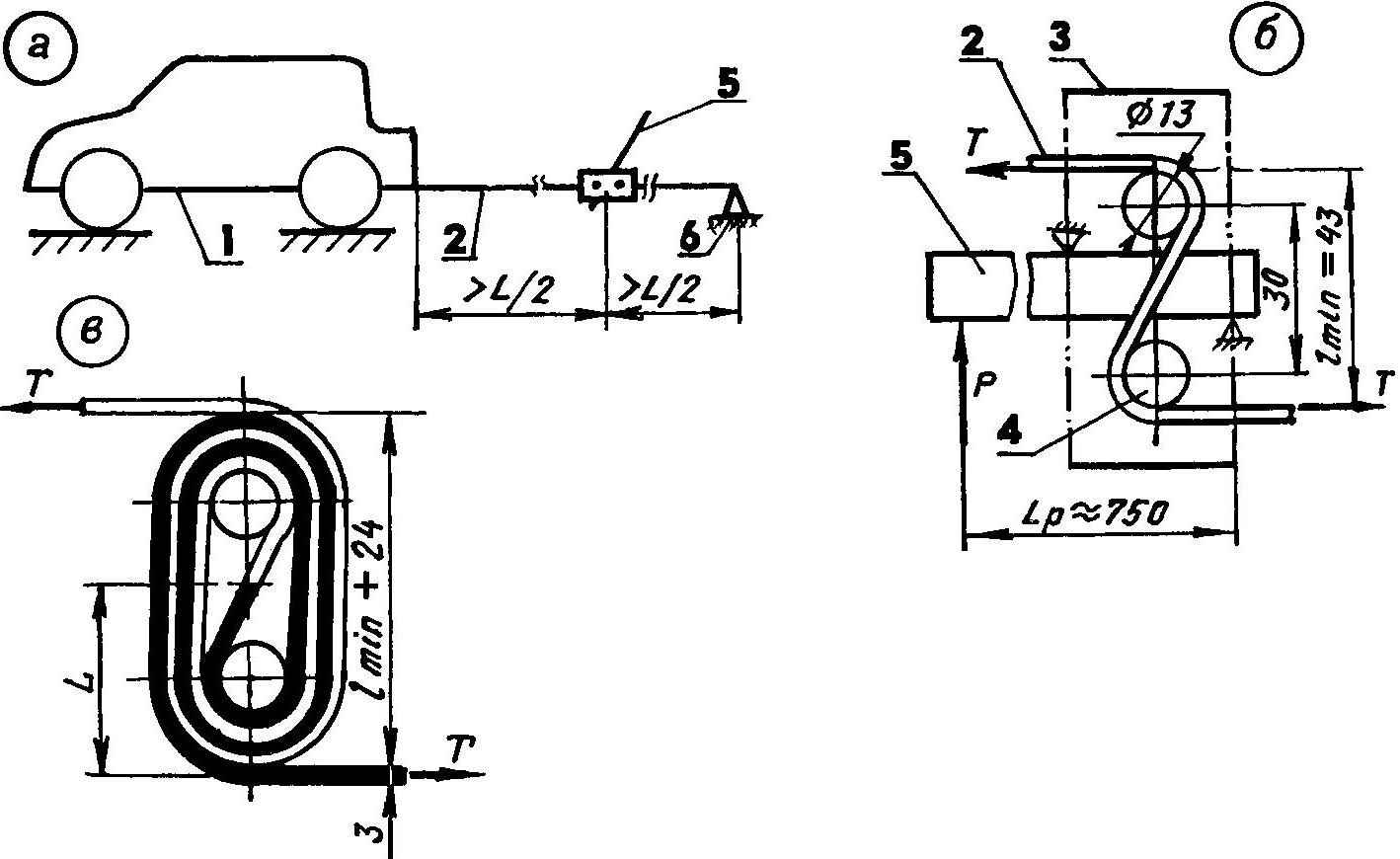 Рис. 2. Схема работы лебедкн