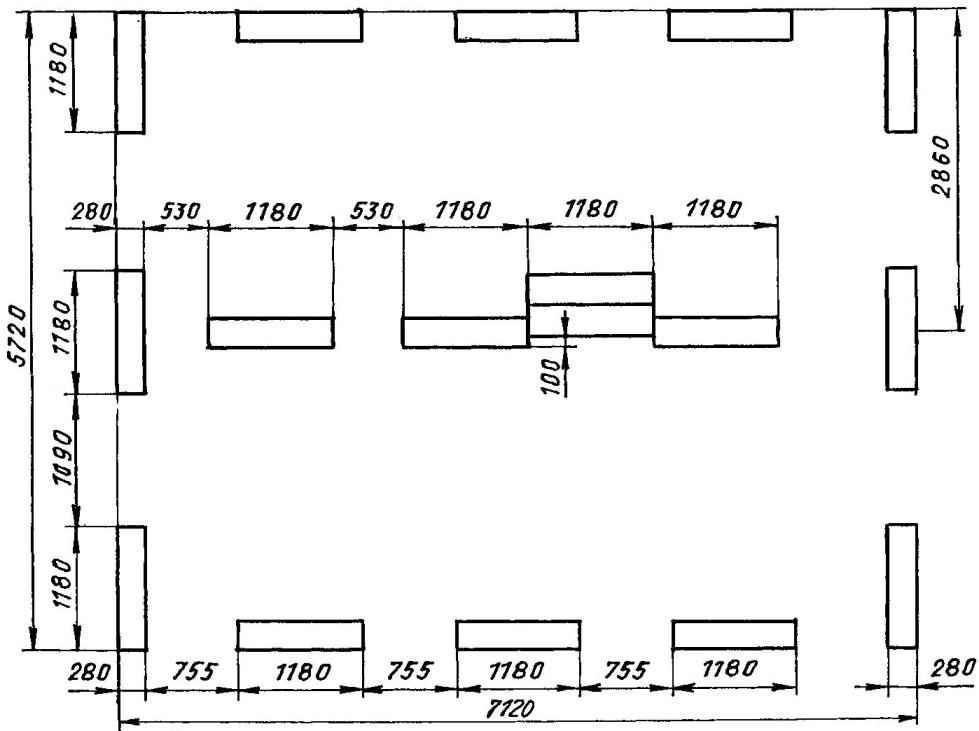 План фундамента (бетонные блоки 1180x580x280)
