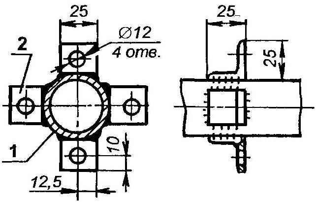 Монтаж кронштейнов на хребтовой балке