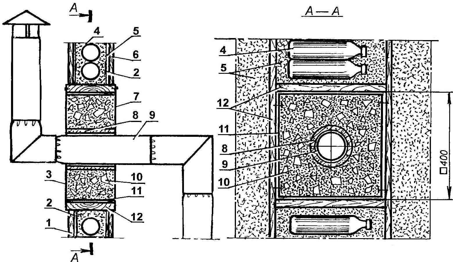 Fig. 2. The passage of the chimney through the wall