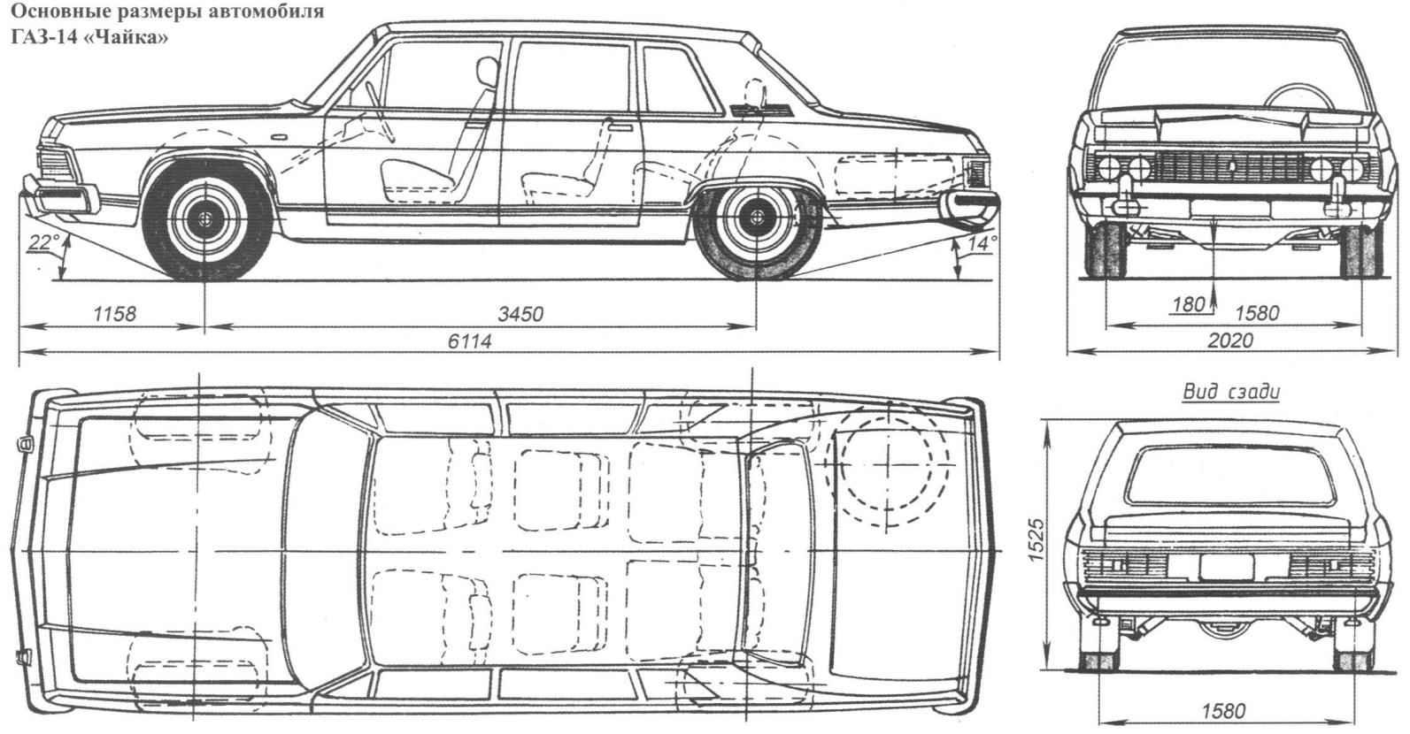 Основные размеры автомобиля ГАЗ-14 «Чайка»