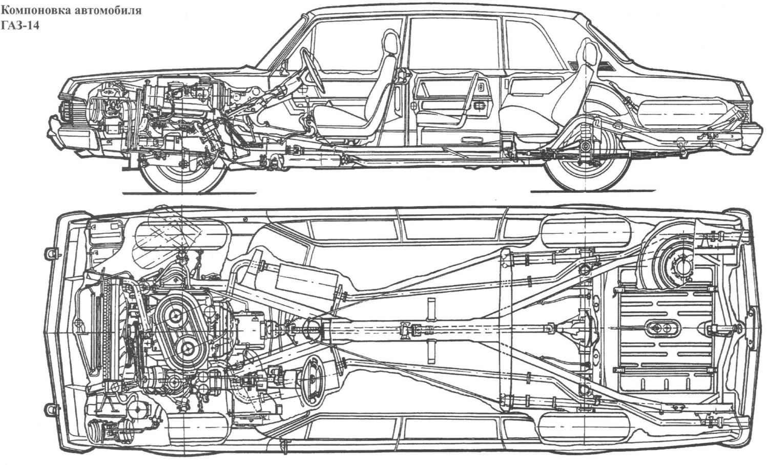 Компоновка автомобиля ГАЗ-14