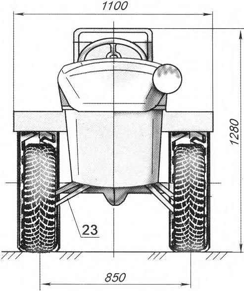 Bulldozer gave and the bucket conventionally not shown