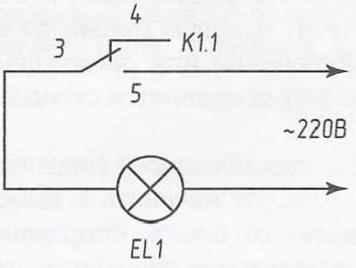 Рис. 3. Подключение исполнительных контактов реле при использовании ёмкостного датчика в качестве включателя осветительной лампочки