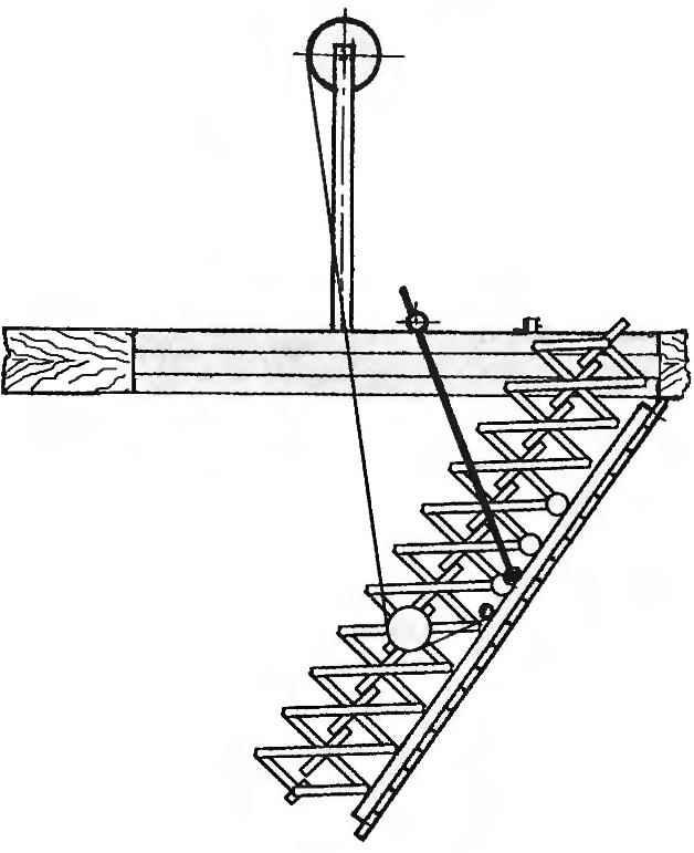 Фрагмент лестницы в момент подъёма