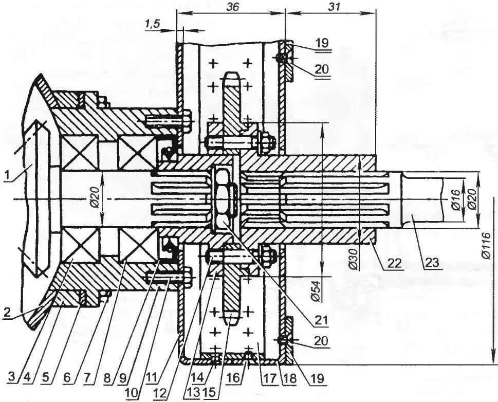 Сочленение звёздочки привода с дифференциалом и передним карданным валом
