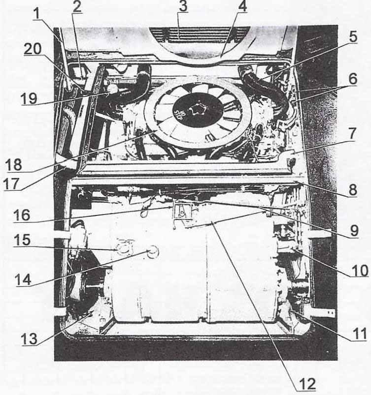 Вид моторного отделения с открытыми люками