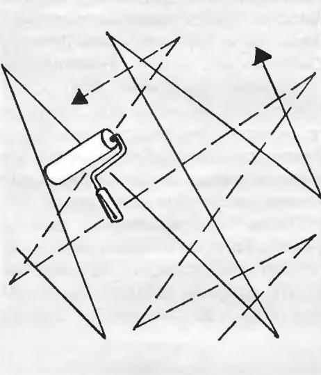 Рис. 16. Схема перекрёстного движения валика при нанесении клея на стену