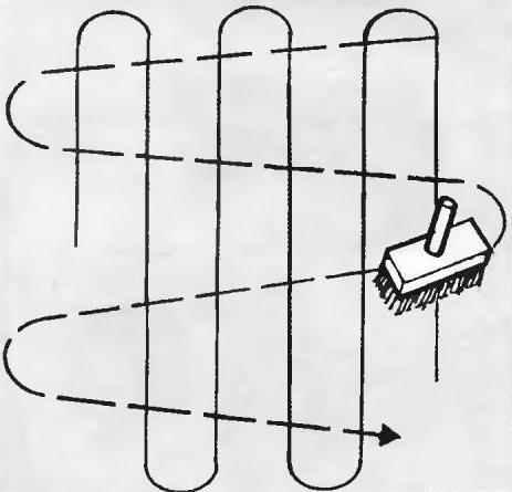 Рис. 17. Последовательность намазывания полотна обоев с помощью щётки