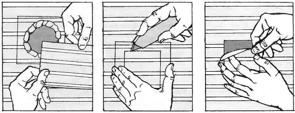 Рис. 24. Последовательность изготовления и приклеивания заплатки на обои