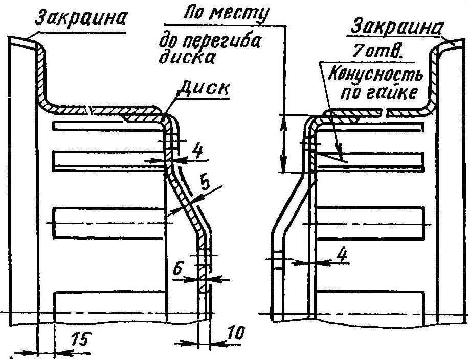 Изготовление основного обода и отъемного обода с диском из колеса автомобили ГАЗ-66 (удаляются затушеванные части)