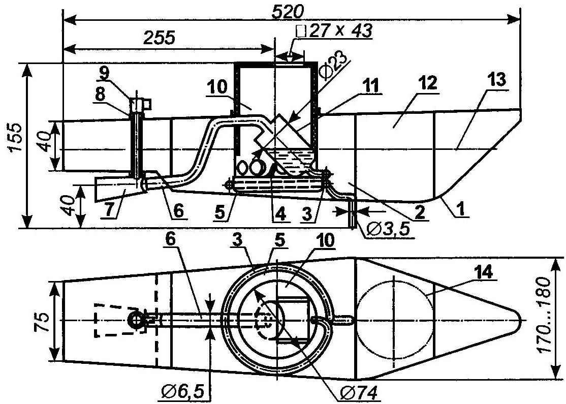 Парореактивный двигатель на модели катера береговой охраны (дымовая труба условно не показана)