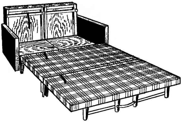 Раздвинуто основание дивана и разложены подушки сиденья