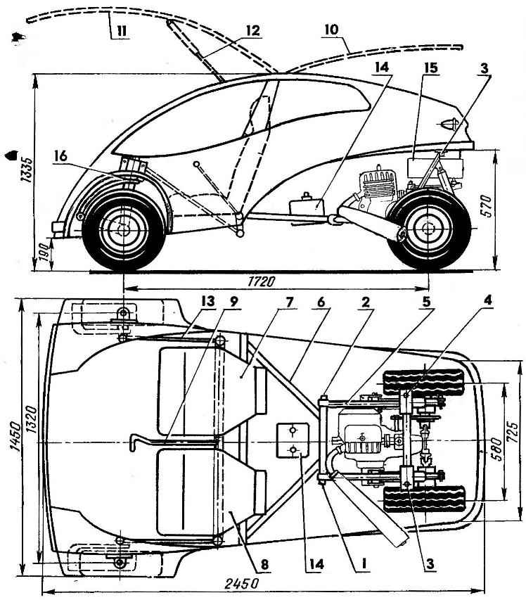 Рис. 1. Компоновка мотомобиля «Рута»