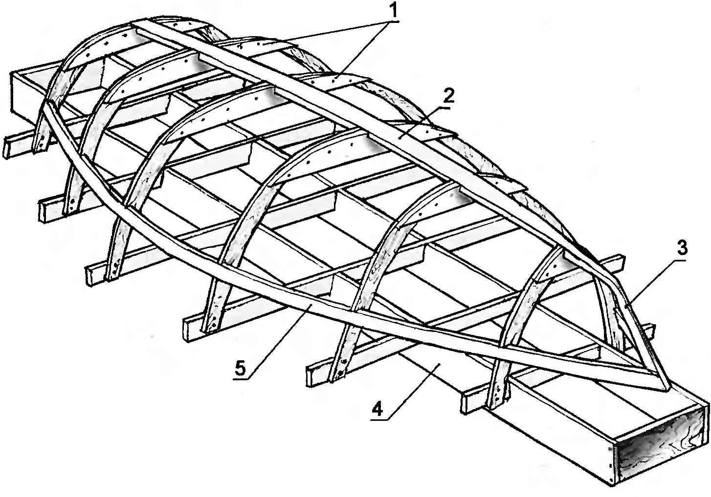 Рис. 1. Набор корпуса деревянного судна на стапеле