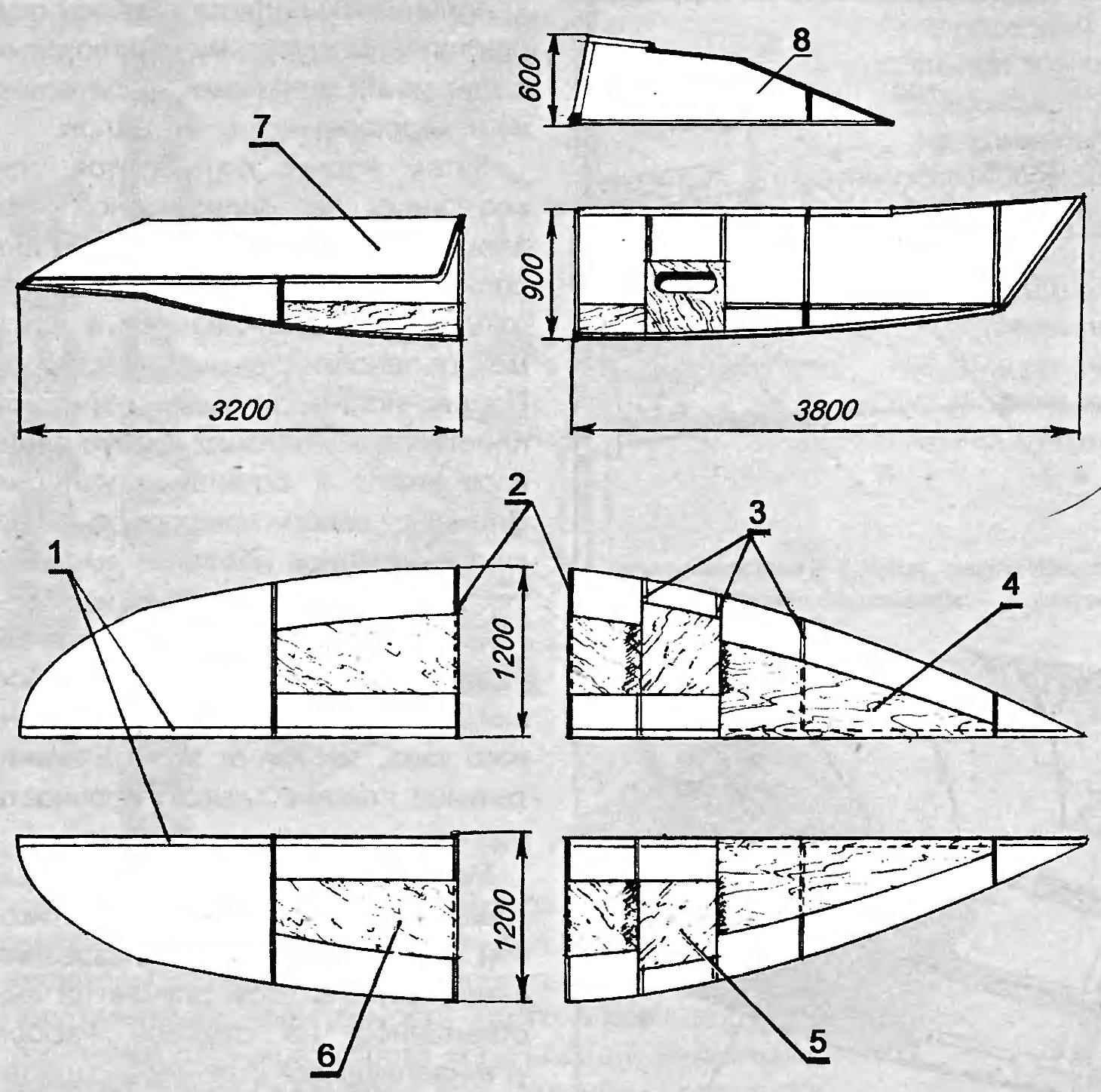 Рис. 7. Пример разбивки на секции корпуса крейсерской гоночной яхты