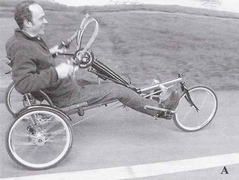 Веломобили для инвалидов: А — скоростной с комбинированным (ручным и ножным) приводом и ручным управлением