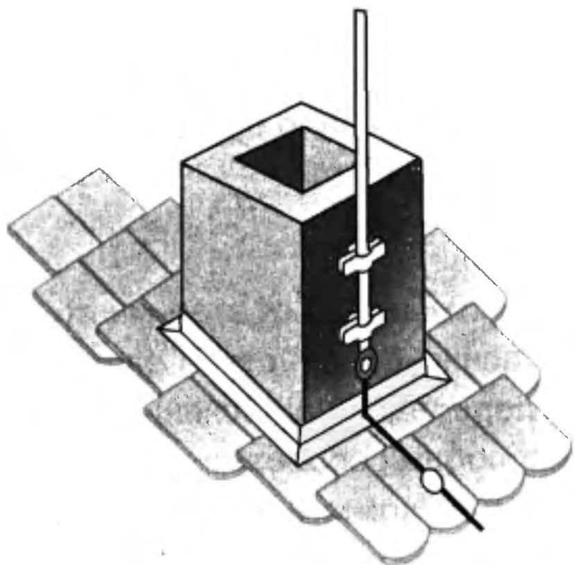 Стержневой молниеприёмник, укреплённый непосредственно на трубе