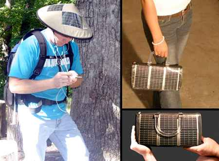 Hat and bag with the use of solar panels