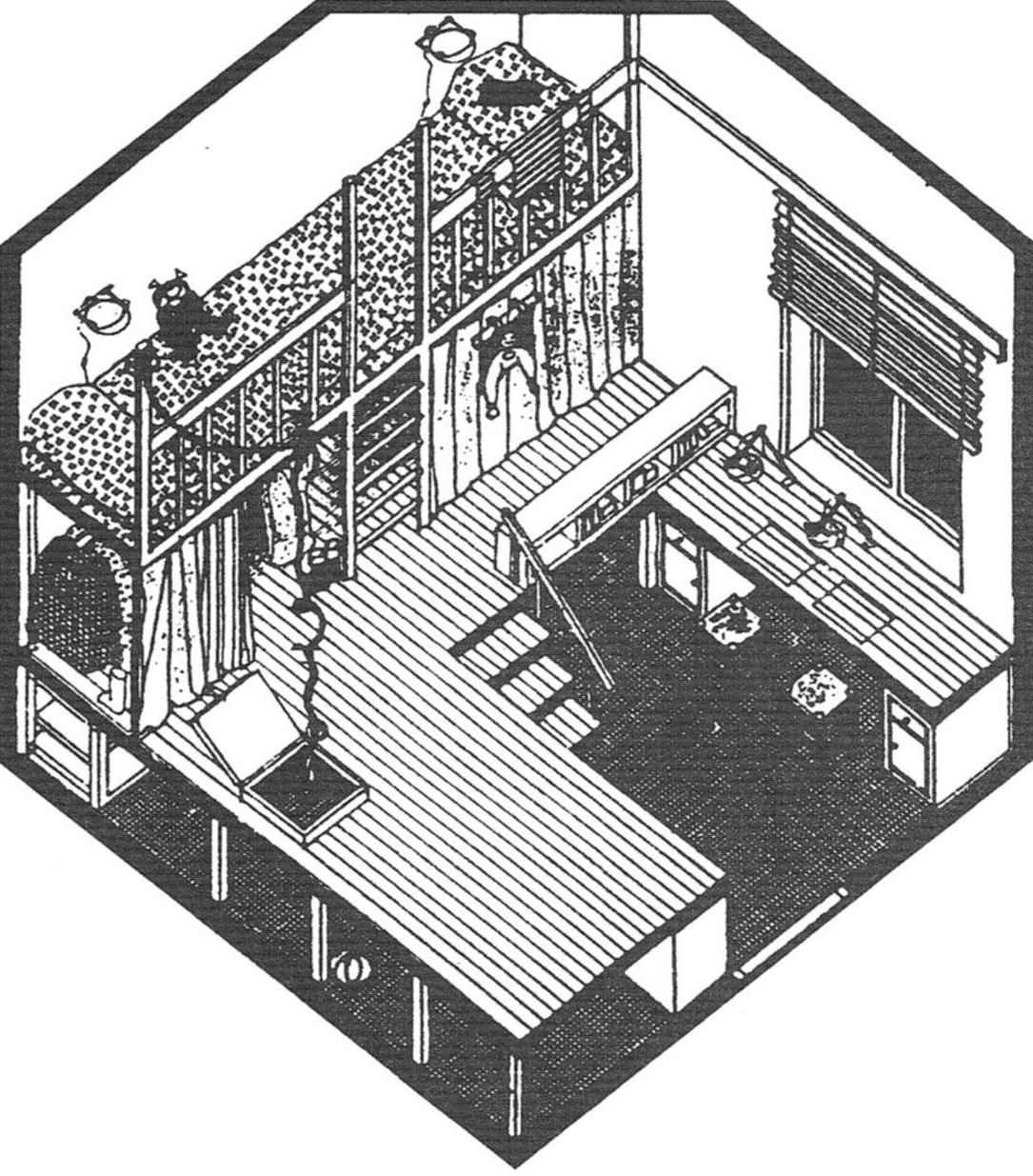 Комбинированная по функциям зона: кабинет-спальня. Решена в двух уровнях: напольный — содержит рабочий стол и располо женный рядом книжный шкаф; на помосте — лёгкая конструкция для одежды и спальное место наверху