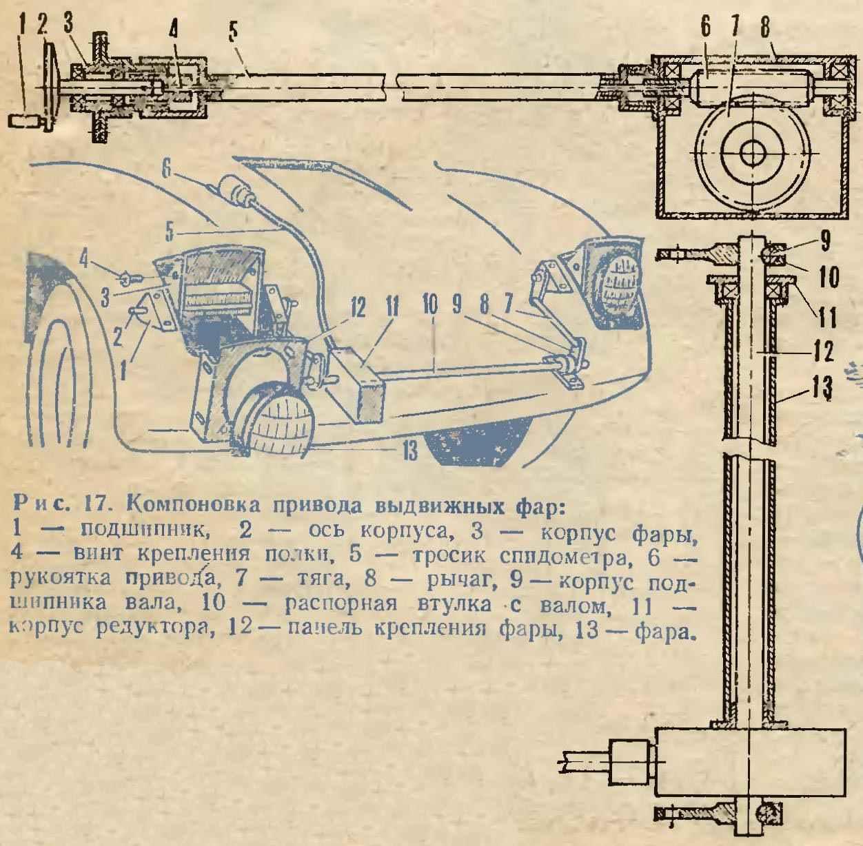 Рис. 17. Компоновка привода выдвижных фар Рис. 18. Механизм привода фар