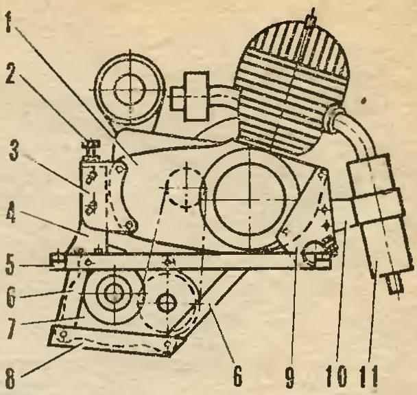 Рис. 8. Двигатель на подмоторной раме