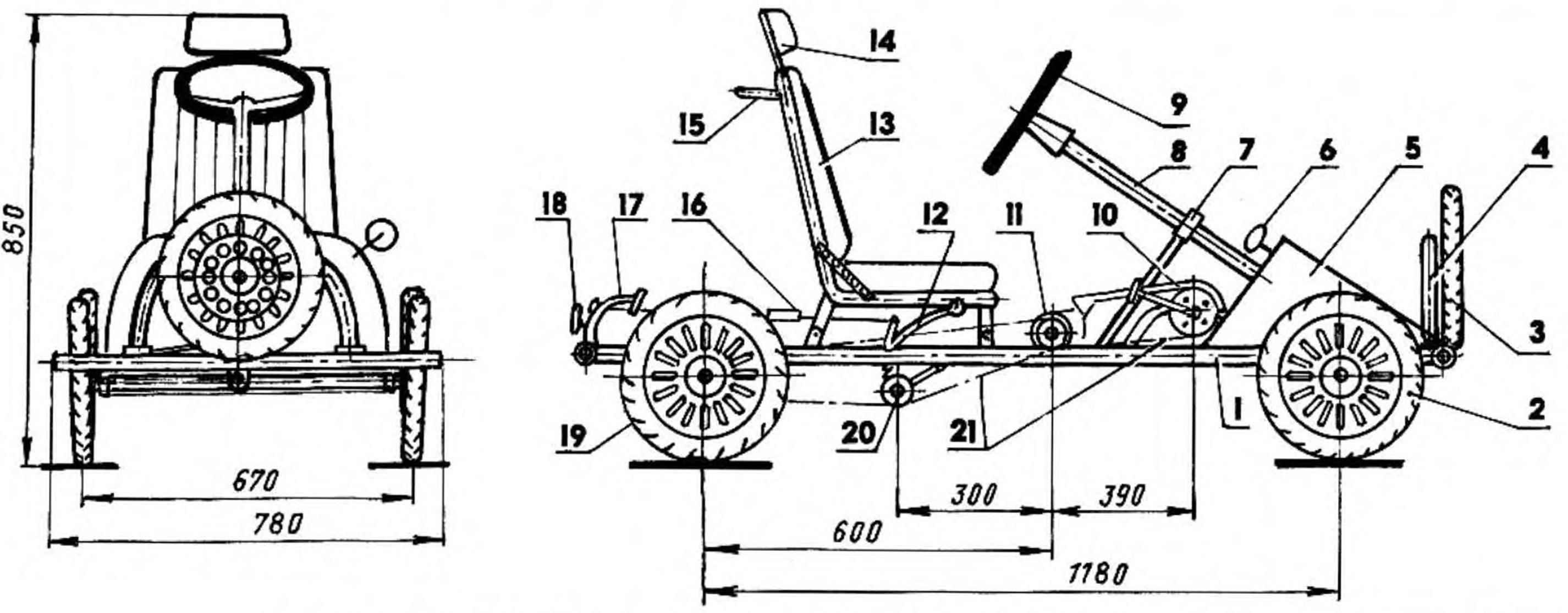 Сделать 4 колесный велосипед для 2 клашек схема