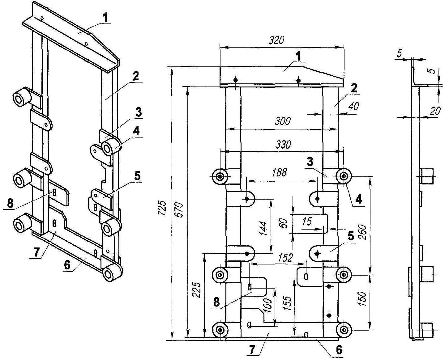Моторама (материал деталей—сталь 30ХГСА)