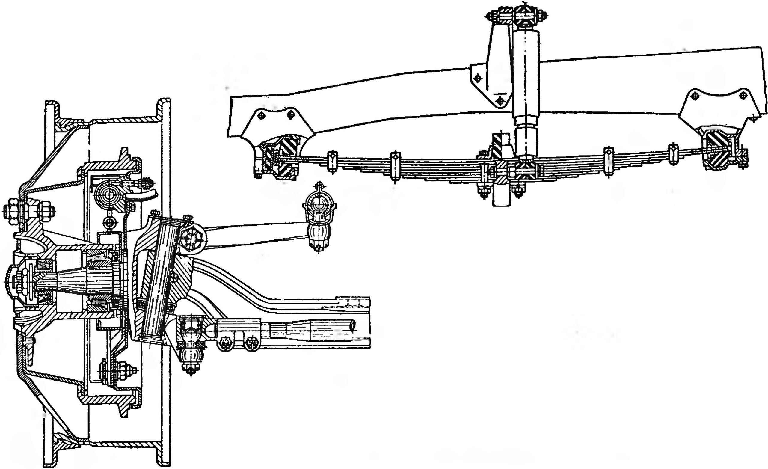 Front axle and front suspension of the car GAZ-53A