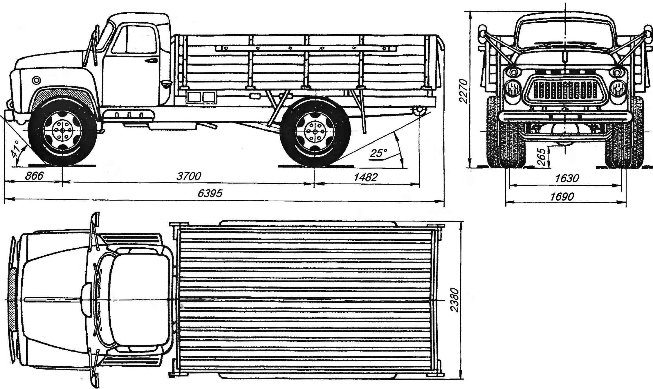 Основные размеры грузового автомобиля ГАЗ-53А